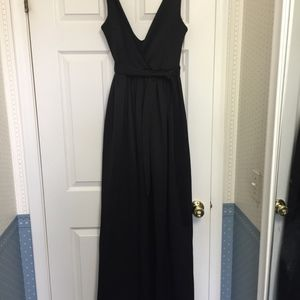 Black Silk Gown with Pockets